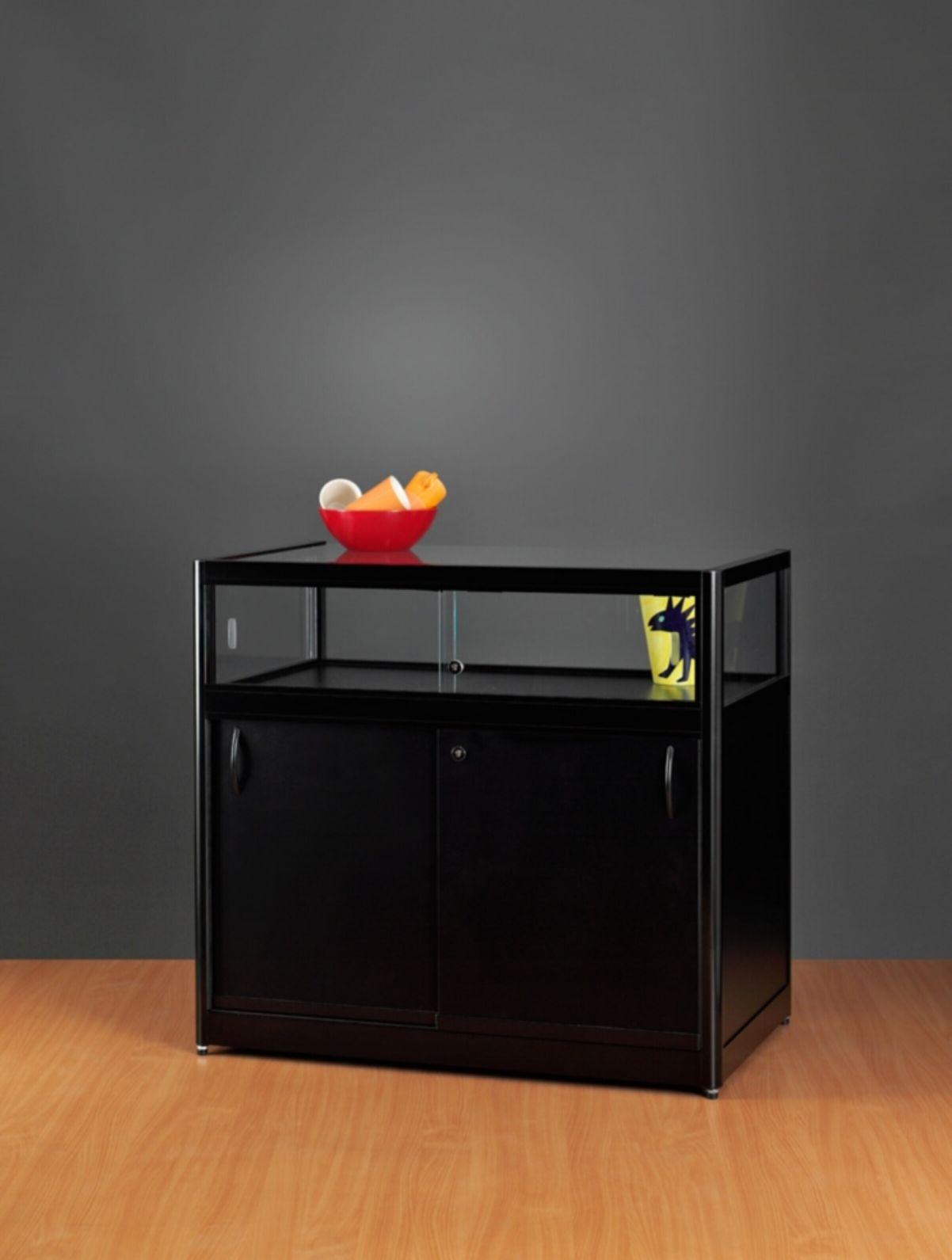 nl tv 100 unterschrank schwarz tischvitrine mit unterschrank schwarz stilnet vitrinen. Black Bedroom Furniture Sets. Home Design Ideas