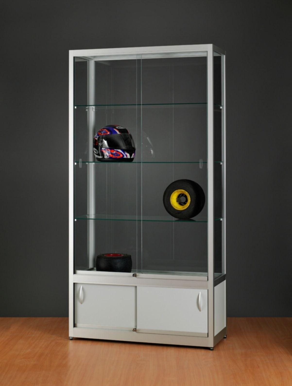 nl vitrine stand 120 us silber standvitrine mit unterschrank silber lichtgrau stilnet vitrinen. Black Bedroom Furniture Sets. Home Design Ideas
