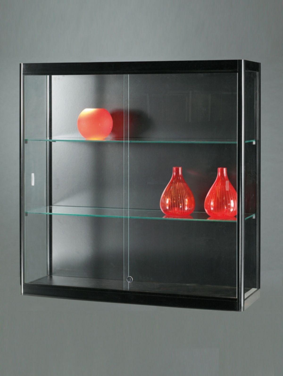 nl vitrine wand 100 db schwarz wandvitrine mit deckenbeleuchtung alu profile schwarz. Black Bedroom Furniture Sets. Home Design Ideas